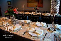 Unforgettable Weddings Sudbury Ontario Wedding Decor, Party Decor, Special Event Decor #weddingdecor #wedding #decor #gold #pearl Wow Factor, Gold Pearl, Event Decor, Ontario, Special Events, Photo Galleries, Wedding Decorations, Table Settings, Weddings