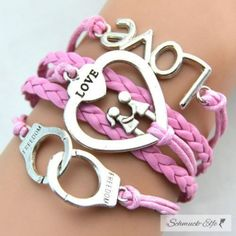 Armband LOVE & FREEDOM  rosa  im Organza Beutel