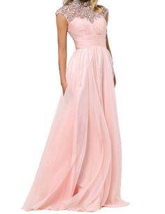 LucysProm Women's Dresses High Neck Chiffon A Line Prom Dresses Size 8 US Pink
