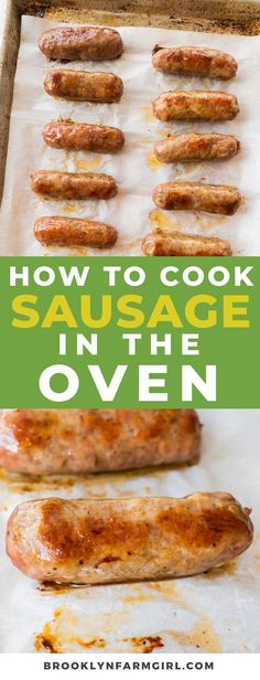 Easy steps on how to cook sausage in the oven. In 30 minutes you'll have delicious oven baked sausage for dinner. This works for sausage links and patties! Breakfast Sausage In Oven, Cook Sausage In Oven, Italian Sausage In Oven, Sausages In The Oven, Italian Sausage Recipes, Breakfast Gravy, Breakfast Meals, Morning Breakfast, Breakfast Casserole