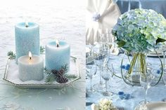 winter wedding color trends:ice blue with silver winter wedding decoration ideas