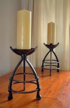 candlesticks forged by James Price of BABA (British Artist Blacksmiths Association) Metal Projects, Metal Crafts, Welding Projects, Wrought Iron Candle Holders, Blacksmith Projects, Forging Metal, Iron Art, Candle Stand, Custom Metal