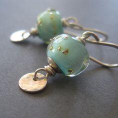 Yummy earrings with our handmade lampwork, stellar design > Turquoise Lampwork Earrings Sterling Silver Disc Dangle by loriyab, $40.00