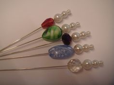 6B.a collection of 5 crystal pearl hat pins for hats corsages or craft  £2.95