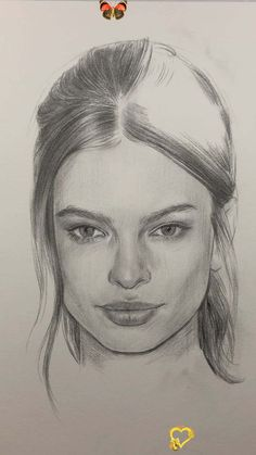 Portrait Drawing by Nadia Coolrista  <br> Girl Drawing Sketches, Art Drawings Sketches Simple, Portrait Sketches, Easy Portrait Drawing, Pencil Sketch Portrait, Drawing Portraits, Realistic Pencil Drawings, Pencil Art Drawings, Drawing Faces