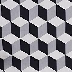 Stoff Geometrisch: Cube  –Schwarz / Weiß  – wunderschöner, ausgefallener Stoff mit geometrischen Muster aus 100% Baumwolle von rauffaser auf Etsy