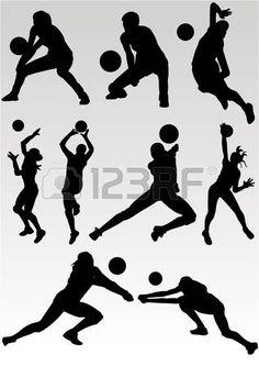 volleyball girl: Vector de jugar Voleibol Vectores