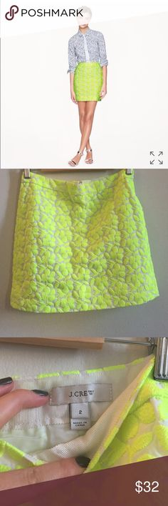 J. Crew Postage stamp mini in neon NWOT adorable little mini skirt. Never worn, I've hesitated so many times to consign this, but don't have room in my closet for hesitation! Taking to consignment next week, no trades! J. Crew Skirts Mini