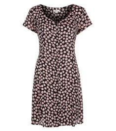 Pink and Black Daisy Print Button Up Dress
