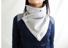 Bufanda cuello de la capucha, bufanda a rayas, bufanda gris, bufanda unisex, bufanda de las mujeres, bufanda de los hombres, regalo para ella, chal gris, cuello más cálido