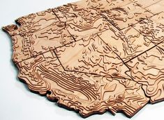 Geographical! Created from actual elevation data, this wooden topographical map of the United States is laser-cut and hand-assembled in Portland, Oregon. The 48 contiguous states are $750, but get …
