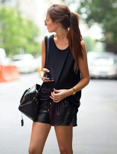 casual yet sophisticated #leather shorts x loose top / weworewhat