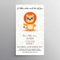 Cute invitation for your little one turning ONE. Any Design Wishes, Contact us.
