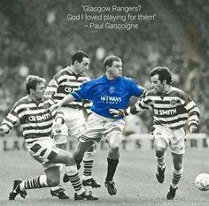 Paul Gascoigne in the old firm. Rangers Football, Rangers Fc, Football Soccer, Football Players, English Legends, Tottenham Football, Old Firm, Premier League Soccer, Football Fashion