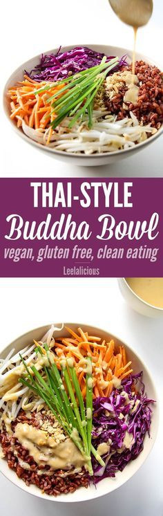 Thai Style Buddha Bowl with Peanut Sauce - this healthy recipe with brown rice is gluten free, vegan and clean eating. | @nutritionstripped