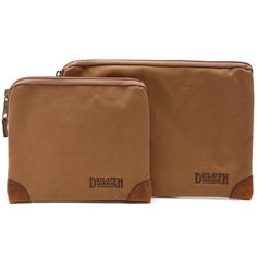 Duluth Trading Company's Fire Hose Small Parts Bag is backed with PVC for durability and water resistance, and reinforced with leather corners.