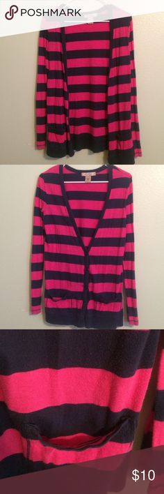 Pink and navy stripped cardigan w/pockets Worn a few times, still in great condition! ✨ Arizona Jean Company Sweaters Cardigans