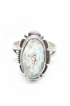 d20e36edae7 Navajo Dry Creek White Turquoise Ring (Size 8)