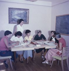 Aboriginal students from northern Alberta  seated at a table. Edmonton. (item 1)