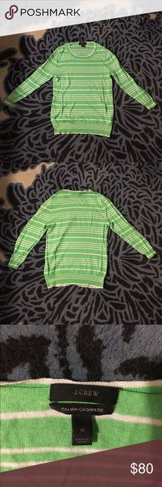 "🎉TGIF SALE🎉Italian Cashmere Sweater Pre-owned - great condition with no holes or stains. J Crew green and white striped lightweight sweater. Sleeves are 3/4 on me  and I'm 5""5'. made of 100% cashmere Size S Measurements: Underarm to underarm is approximately 17 inches Back of neck to hem is approximately 24.5 inches  🎉20% discount on all bundles🎉 ❌No trades❌ J. Crew Sweaters Crew & Scoop Necks"