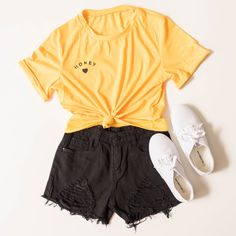 honey tee, graphic tee, yellow, mustard, black honey, honey print, graphic, cropped, crop top, crop, black shorts, distressed, ripped, rips, white tennis shoes, sneakers, white, lace up sneakers, The Copper Closet, fashion, boutique, clothing, affordable, style, woman's fashion, women fashion, online shopping, shopping, clothes, girly, boho, comfortable, cheap, trendy, outfit, outfit inspo, outfit inspiration, ideas, Jacksonville, Gainesville, Tallahassee Florida, photo shoot, look book