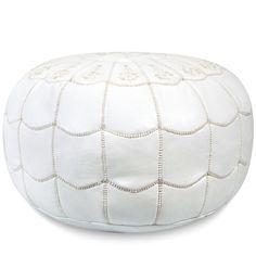 New! White Arches Pouf $235.00 | Hattan Home White, Cream, Leather, Puff, Decor,