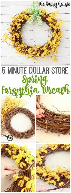 Five Minute Dollar Store Spring Forsythia Wreath // A five minute spring forsythia wreath made out of dollar store finds - the perfect way to add a bright hit of spring color to your front door.​