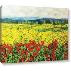 ArtWall Allan Friedlander Zone De Fleurs Gallery-wrapped Canvas, Size: 24 x 32, Red
