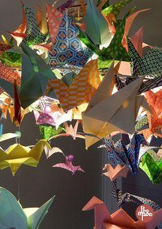 lustre,origami,grue,papier japonais,poc a poc,decoration,cuisine 3 blog