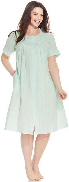ba01ff78145 Miss Elaine Plus Size Seersucker Short-Sleeve Snap-Front Robe Plus Size  Sleepwear