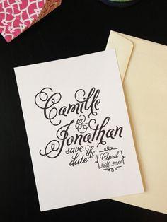 Printable Save the Date Invitation - Elegant Wedding, Custom Monogram, Personalized DIY Wedding, Script Font on Etsy, $30.00