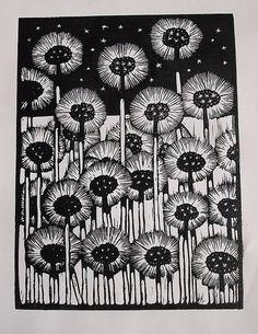 Dandelions - Lino Print.. £9.95, via Etsy.