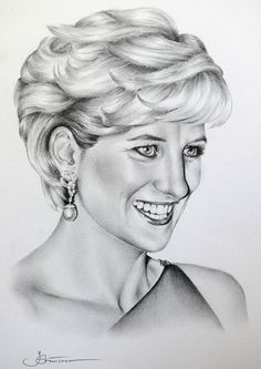 2 Princess Diana Original Pencil Drawings Portrait Fine Art. $79.00, via Etsy.