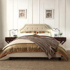 INSPIRE Q Grace Beige Linen Button Tufted Arched Bridge Upholstered Platform Bed | Overstock.com Shopping - The Best Deals on Beds