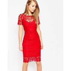 Body Frock Lisa Sculpting Lace Dress (155.550 CLP) ❤ liked on Polyvore featuring dresses, red, red slip, lace bodycon dress, red bodycon dress, bodycon dress and lace slip dress