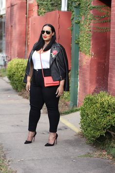 Embroidered Moto jacket   High Waist Jeans and Moto Jacket   Plus Size Outfit Ideas