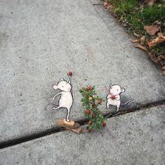 David Zinn, Sidewalk, Chalk, Illustrations, Street art