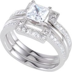 2.66 Ct Princess Cut Diamond 14K White Gold Over Enhancer Engagement Wrap Ring