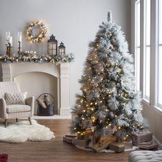 7.5 ft. Classic Flocked Needle Full Pre-Lit Christmas Tree - Christmas Trees at Hayneedle
