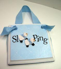 Twin Boys Sleeping Door Hanger Light Blue by RibbonMade on Etsy, $18.00