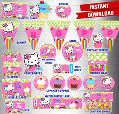 Ready to Print Instant Downloads Party Packs - DigiDivaShop, #hellokitty, #partypack, #printables
