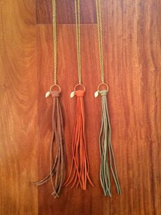 Long Suede Tassel Necklace with Leaf Charm by ShopDeuxLuxe on Etsy