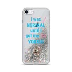 A new iphone case for Yorkshire Terrier mom and lover, silver color with glitter and light blue and pink text with a Yorkie.