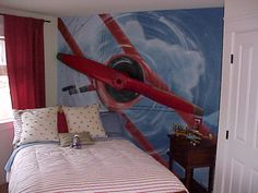 Image detail for -airplane bedroom decorating ideas boys aviation bedrooms - kids rooms . Wall Murals Bedroom, Kids Wall Murals, Bedroom Themes, Bedroom Decor, Bedroom Ideas, Bedroom Inspiration, Boys Airplane Bedroom, Airplane Decor, Kids Bedroom