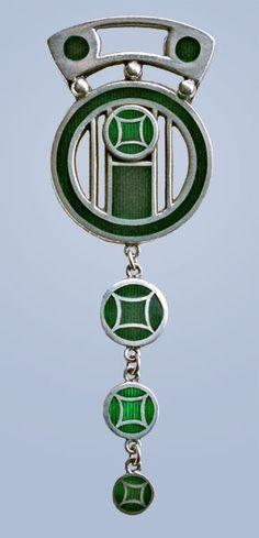 ALBRECHT HOLBEIN Jugendstil Brooch Silver Enamel H: 6.6 cm (2.6 in) W: 2.5 cm (0.98 in) Marks: Ges. Gesch. 800 German, c.1900