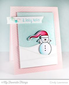 Christmas Cuteness stamp set and Die-namics, Fine Chevron Backgorund, Snowfall Background, Stitched Rectangle STAX Die-namics, Stitched Snow Drifts Die-namics, Washi Tape Die-namics - Cindy Lawrence #mftstamps
