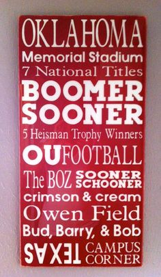 Boomer Sooner subway paint wall art decor home crimson cream team Oklahoma Football team tradition Norman