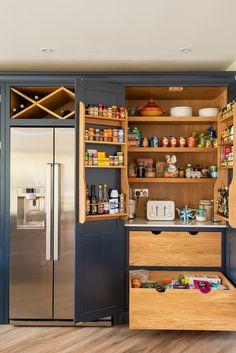 Kitchen Larder Units, Kitchen Pantry Design, Kitchen Cabinetry, New Kitchen, Open Plan Kitchen Diner, Large Kitchen Island, Kitchen Island With Seating, Dark Blue Kitchens, Cool Kitchens