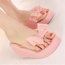 2015 New Summer Fashion femmes plate - forme de talon Flip Flops sandales de plage Bowknot chaussons femmes chaussures Size6.0 - 7.5 pour le choix(China (Mainland))