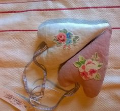 Floral Appliqued Linen Hearts Filled with French Lavender by gillyflowerdesigns on Etsy